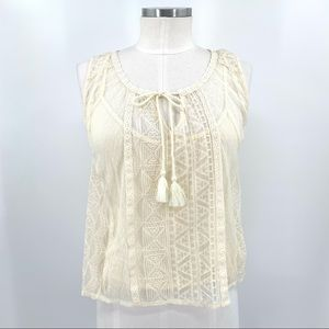 AEO Cream Layered Lace Tank Top with Tassel Tie